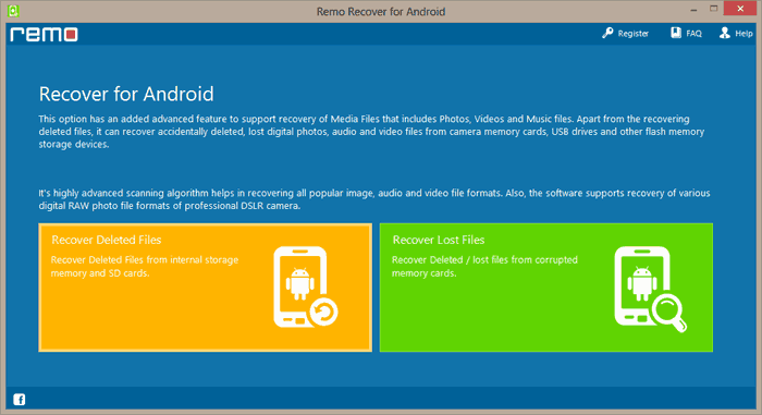 Recover Deleted Files Android - Recover Deleted Files - Main screen